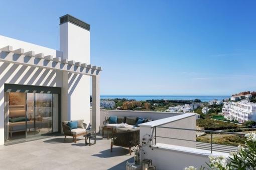 Die wunderschöne Terrasse mit Blick auf das Meer