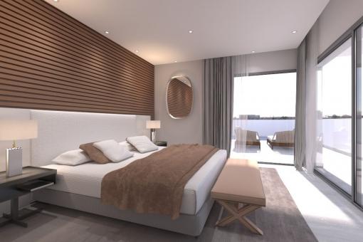 Spacious bedroom with panoramic views
