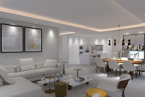 Living area with open kitchen