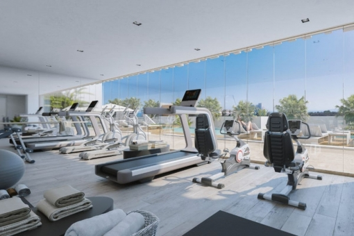 The apartment complex offers a fully equipped gym
