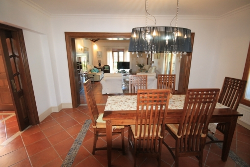 Bright dining area with views to the living area