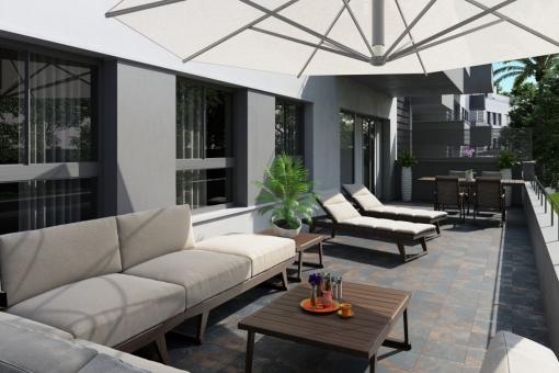 Stylisher Loungebereich im Schatten
