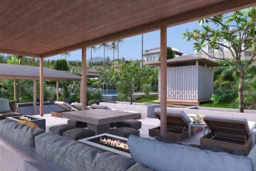 Überdachter Loungebereich am Pool