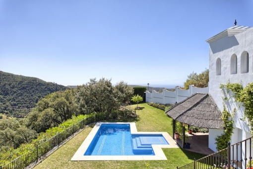 Extensive outdoor area with pool and open views