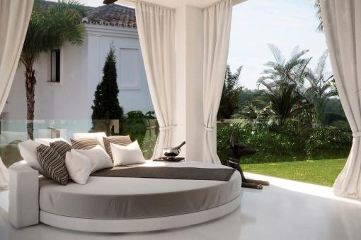 Überdachter Loungebereich