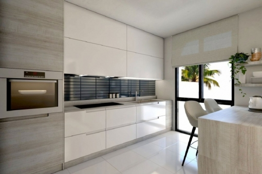 Modern kitchen and dining area