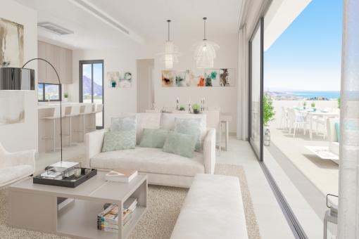 Puristischer Wohnbereich mit direktem Terrassenzugang