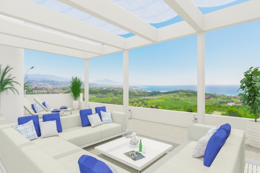 Contemporary, 3-bedroom first floor apartment located in a golf resort in Casares