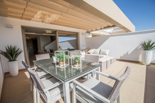Spacious terrace with outdoor dining area