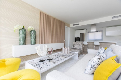 Off plan modern style 2 bedrooms ground floor apartment close to the beach in Estepona.