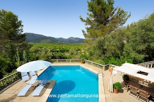 Villa with many terraces, large pool and beautiful views of the Tramuntana Mountains.