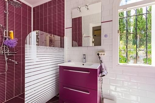 Stylish bathroom with shower