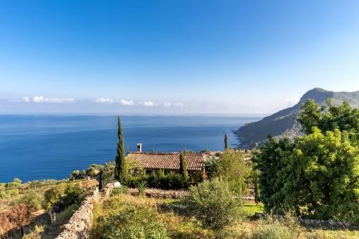 Blick über das Grundstück und die Küste