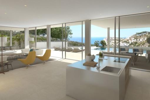 Moderner und offener Wohn-/Essbereich mit Kochinsel