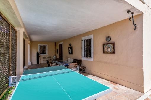 Terrasse mit Essbereich und Tischtennisplatte