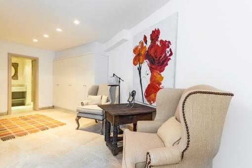 Loungebereich im Gästezimmer