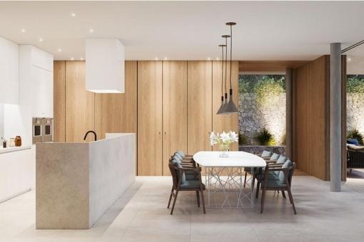 Heller Essbereich mit stilvoller Küche