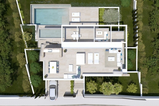 The villa from a birds-eye view