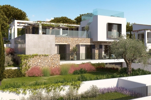 Exterior view of the modern villa project
