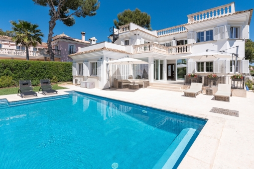 Exterior view of the villa with heated pool