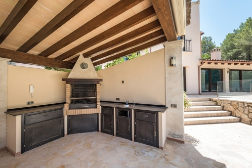 Small outdoor kitchen in the pool house