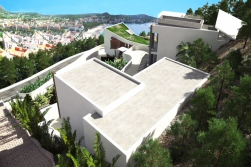 Bird's-eye view of the villa