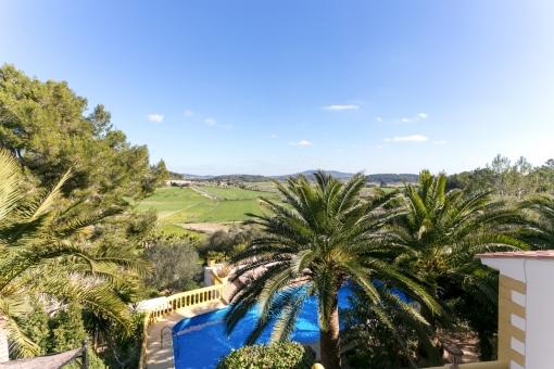 Blick auf den Garten und den Poolbereich
