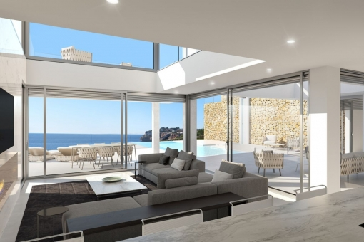 Spacious living area with access to the pool