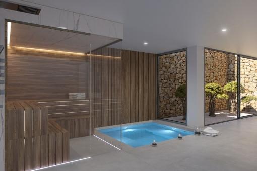 Attractive spa area with sauna