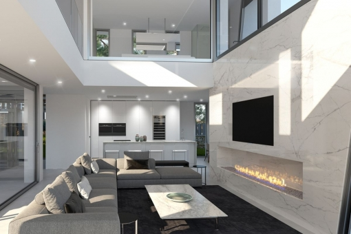 Modern living area with fireplace