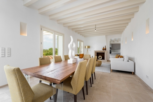 Living and dining area with high ceiling