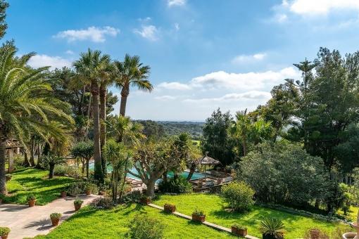 Idyllic garden and pool view
