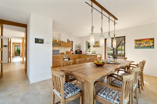 Open dining area and kitchen
