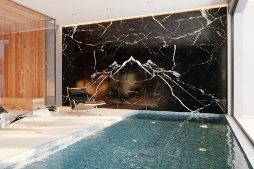 Indoor pool with spa and gym