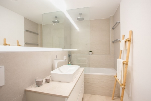 Noble bathroom with shower tub