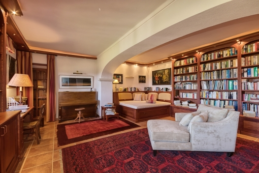 Library with fire place