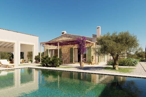 Modern, newly-built finca with pool and fantastic views of the mountains and the nature protection area of Cala Mondrago