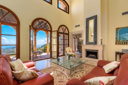 Majestic living area with terrace access