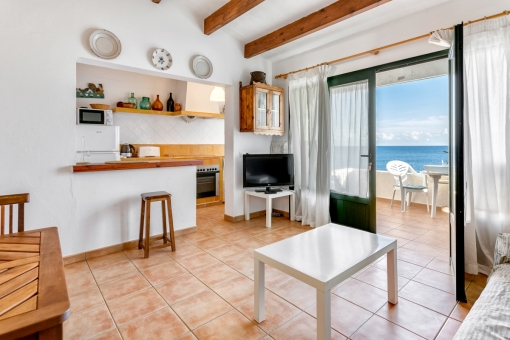 Living area with access to the lovely sea views terrace