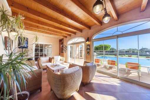 Sunny chill-out lounge with panoramic windows