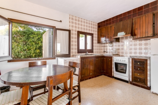 Large kitchen with dining area