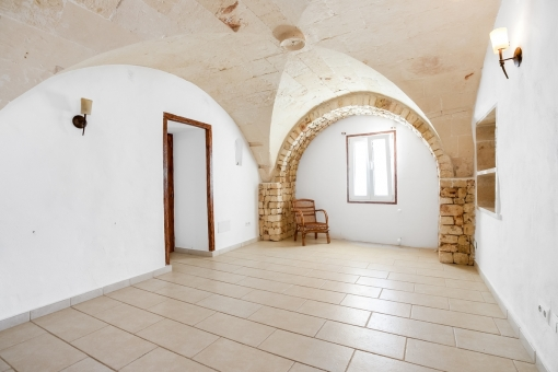 Room with beautiful vaulted cieling
