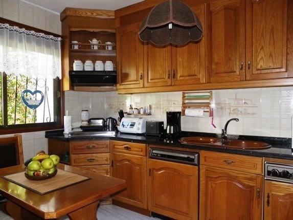 The attractive wood kitchen near the garden