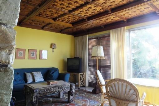 Wooden ceiling of the livingroom